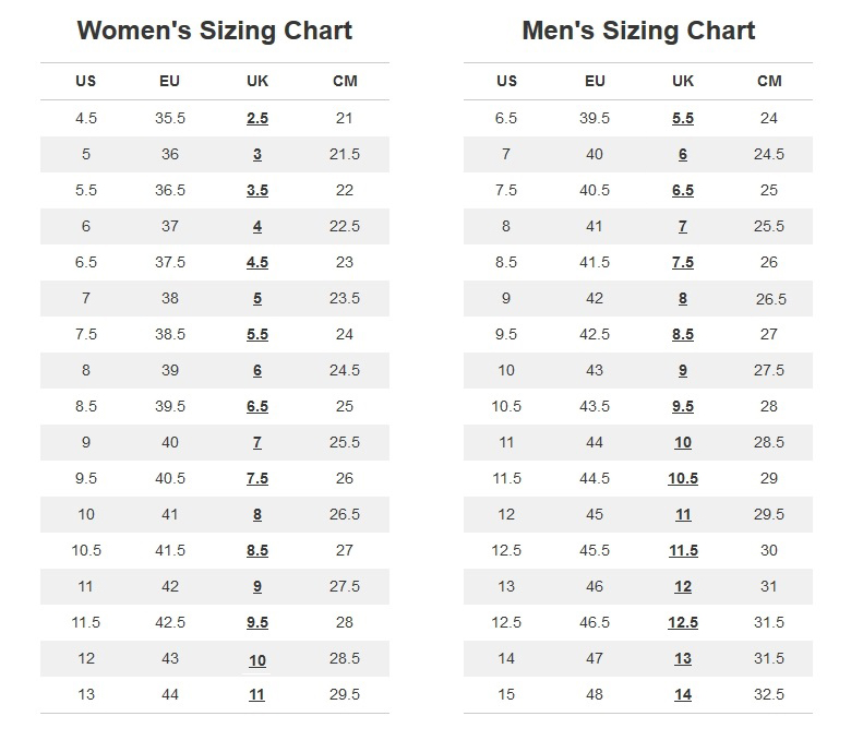 Shoe Size Chart Uk To Us Daily Motivational Quotes